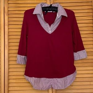 Women's Red Striped Smart Shirt